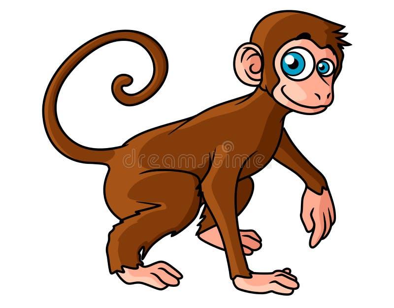 Caractère brun de singe de bande dessinée illustration libre de droits