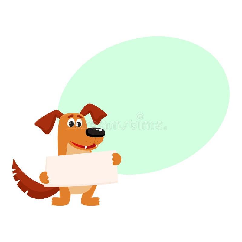 Caractère brun drôle de chien tenant le conseil vide illustration de vecteur