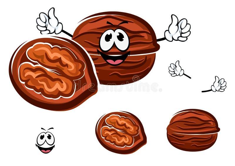Caractère brun heureux de noix de bande dessinée illustration stock