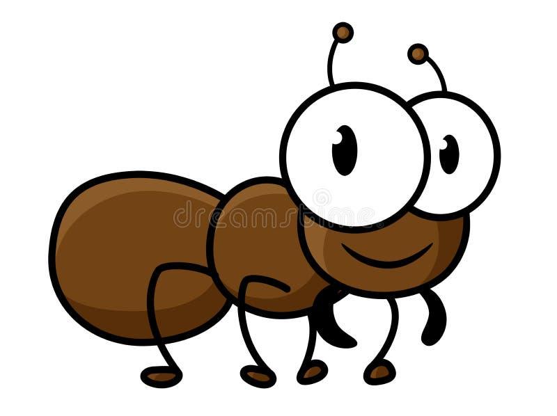 Caractère brun mignon de fourmi de bande dessinée illustration de vecteur