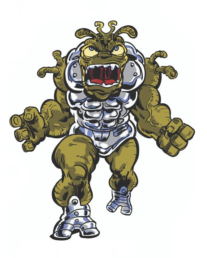 Caractère brutal étranger de bande dessinée de grande bouche illustration stock