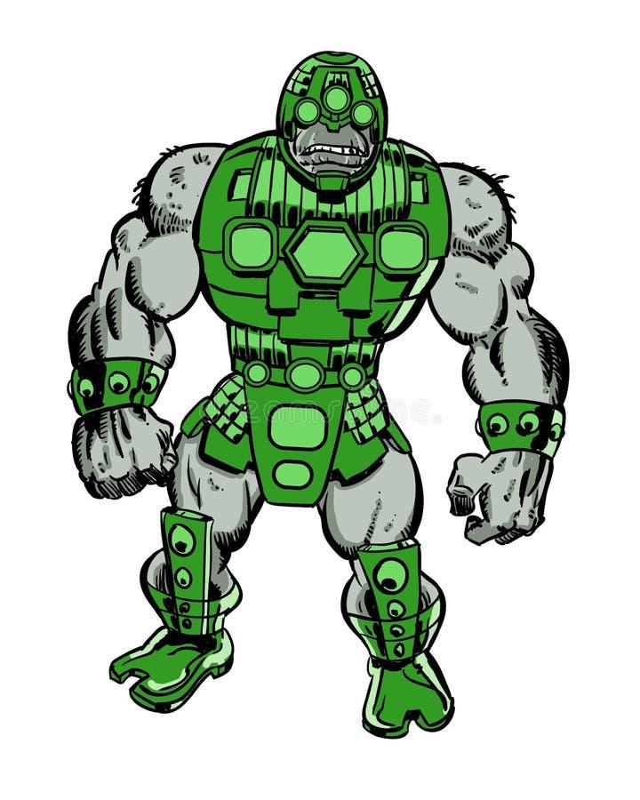 Caractère brutal de bande dessinée de cyborg illustration stock