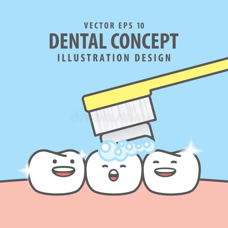 Caractère carré de dents de bannière très heureux pour l'illu de brossage de dents illustration libre de droits