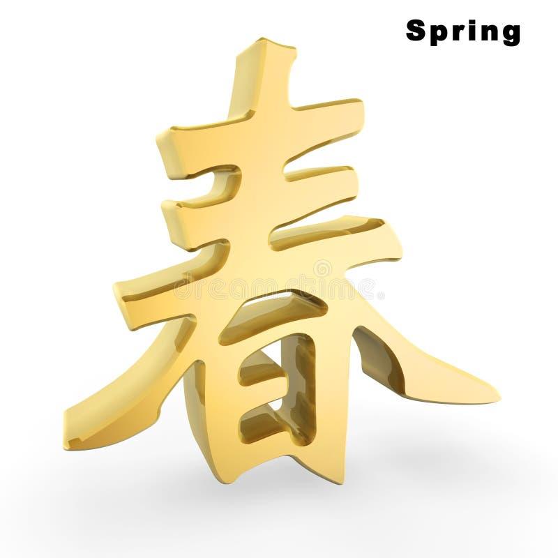 Caractère chinois de source d'or illustration de vecteur