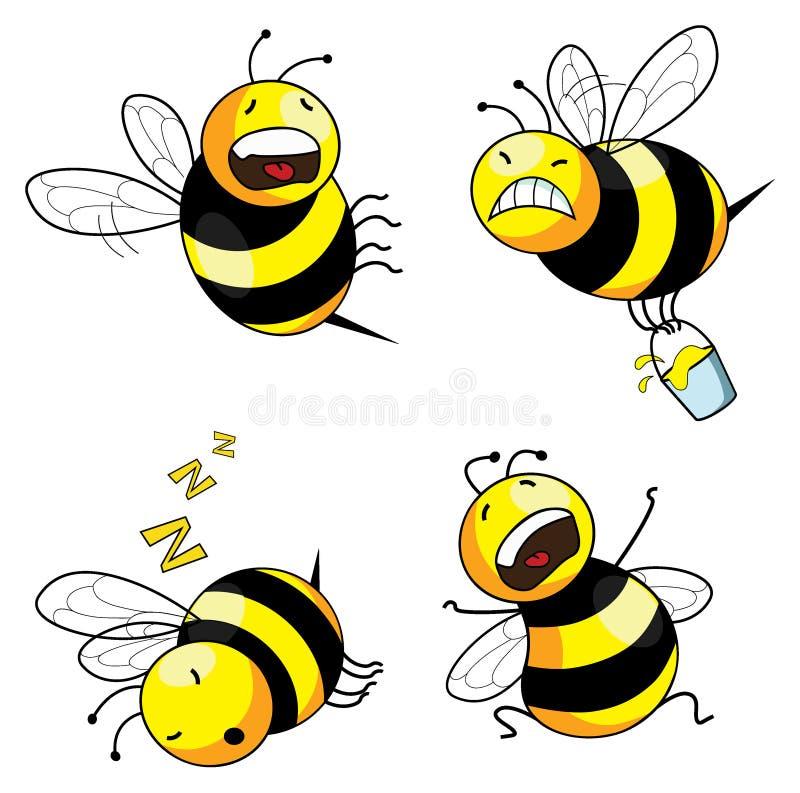 Caractère comique d'abeille d'émotion illustration stock