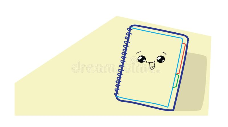 Caractère comique de bande dessinée mignonne de carnet avec l'icône tirée par la main de sourire de bloc-notes de style de kawaii illustration stock