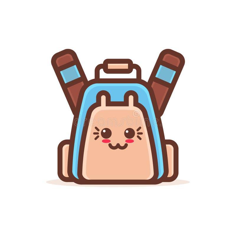 Caractère comique de bande dessinée mignonne de sac à dos avec le cartable heureux de sourire de style de kawaii d'emoji de visag illustration stock