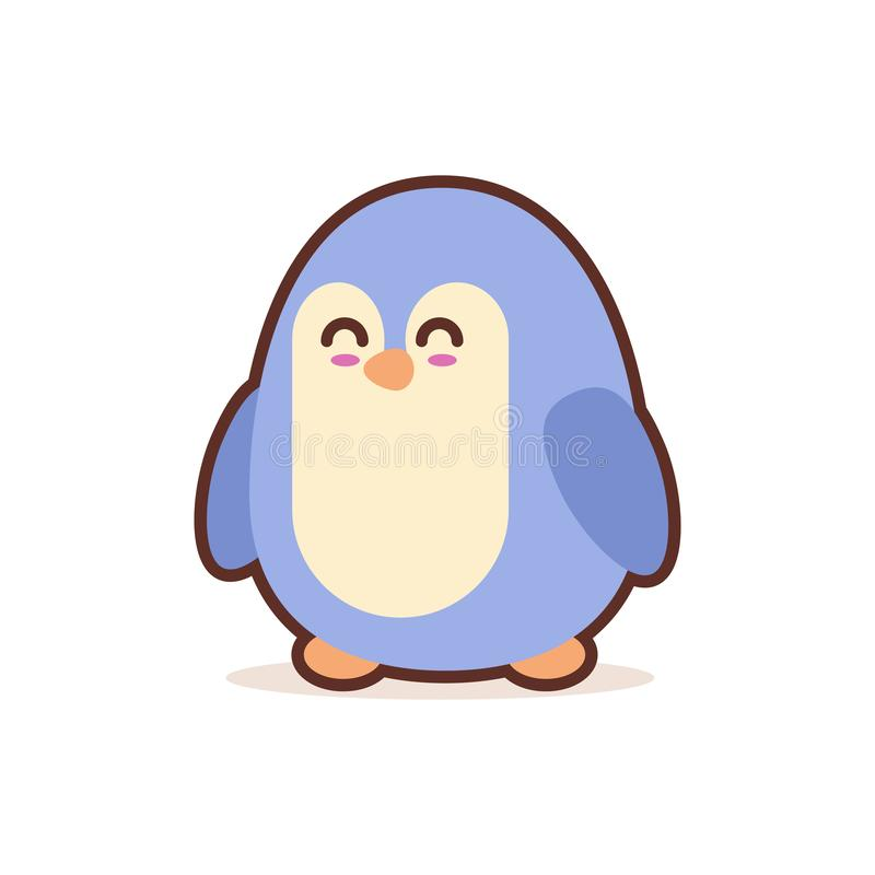 Caractère comique de petite bande dessinée mignonne de pingouin avec les animaux drôles de sourire d'emoji de visage d'anime de s illustration de vecteur