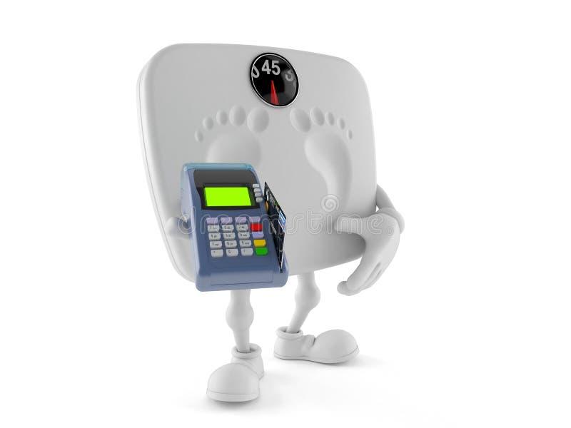 Caractère d'échelle de poids tenant le lecteur de carte de crédit illustration libre de droits