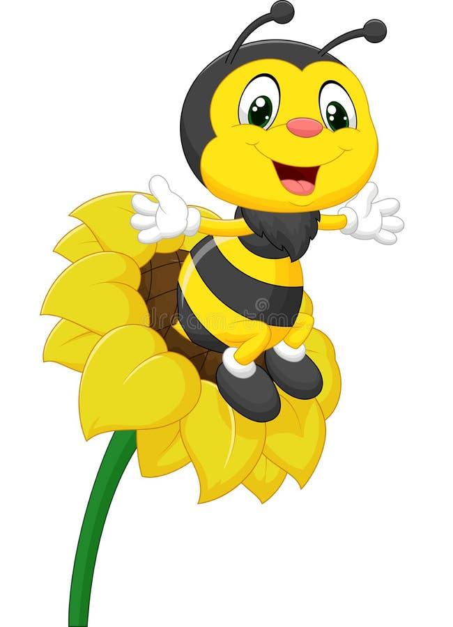 Caractère d'abeille sur la fleur illustration stock