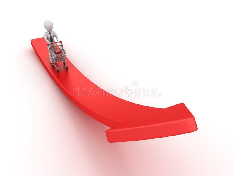caractère d'affaires de la bande dessinée 3D poussant le caddie sur la flèche illustration de vecteur