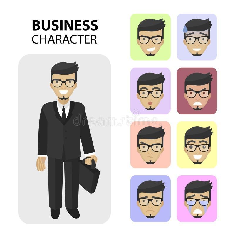 Caractère d'affaires Les différents visages d'émotions, profil décrit les icônes plates, les avatars s Barbe et verres à la mode illustration stock