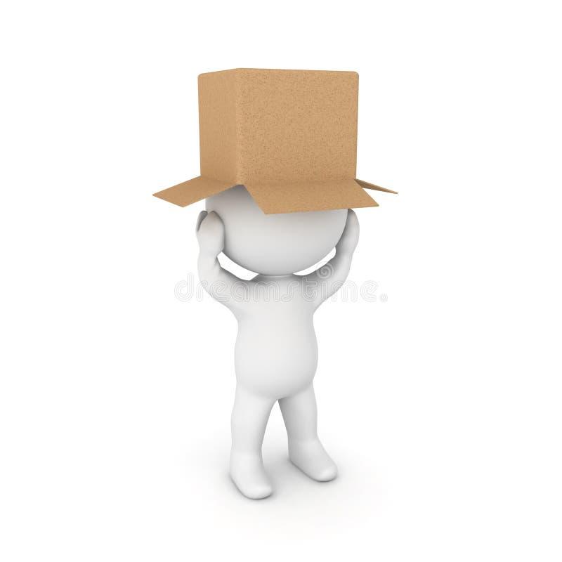 caractère 3D affligé avec un carton sur sa tête illustration stock