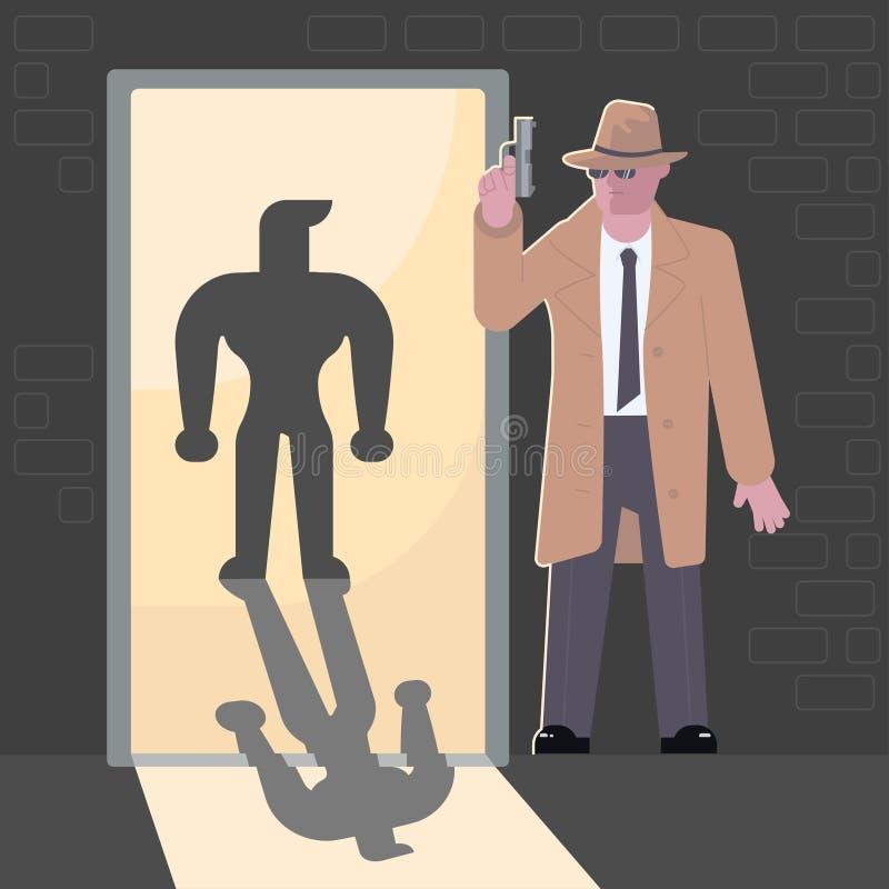 Caractère d'agent secret illustration stock