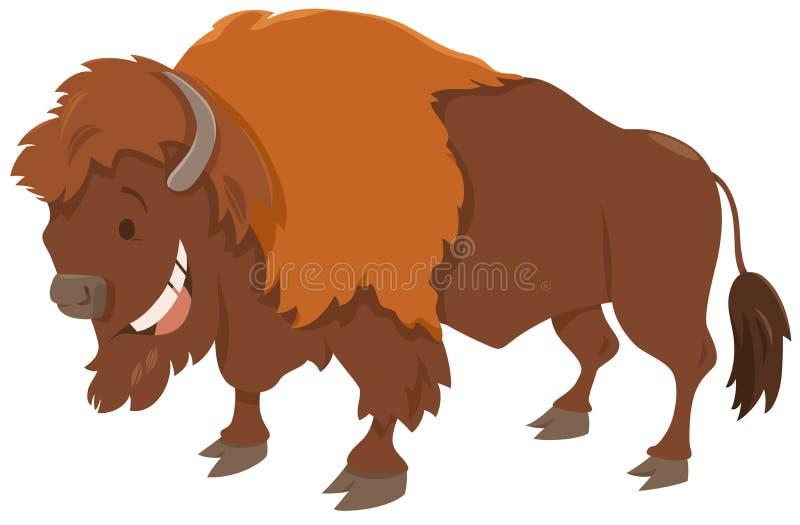 Caractère d'animal de bande dessinée de bison illustration de vecteur