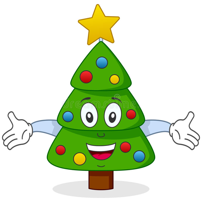 Caractère D Arbre De Noël Heureux Images stock