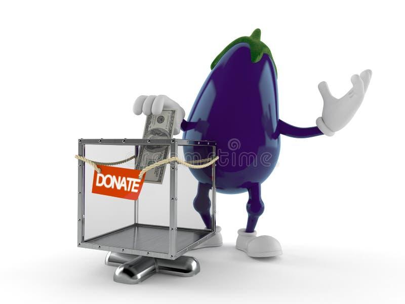 Caractère d'aubergine avec la boîte de donation illustration libre de droits