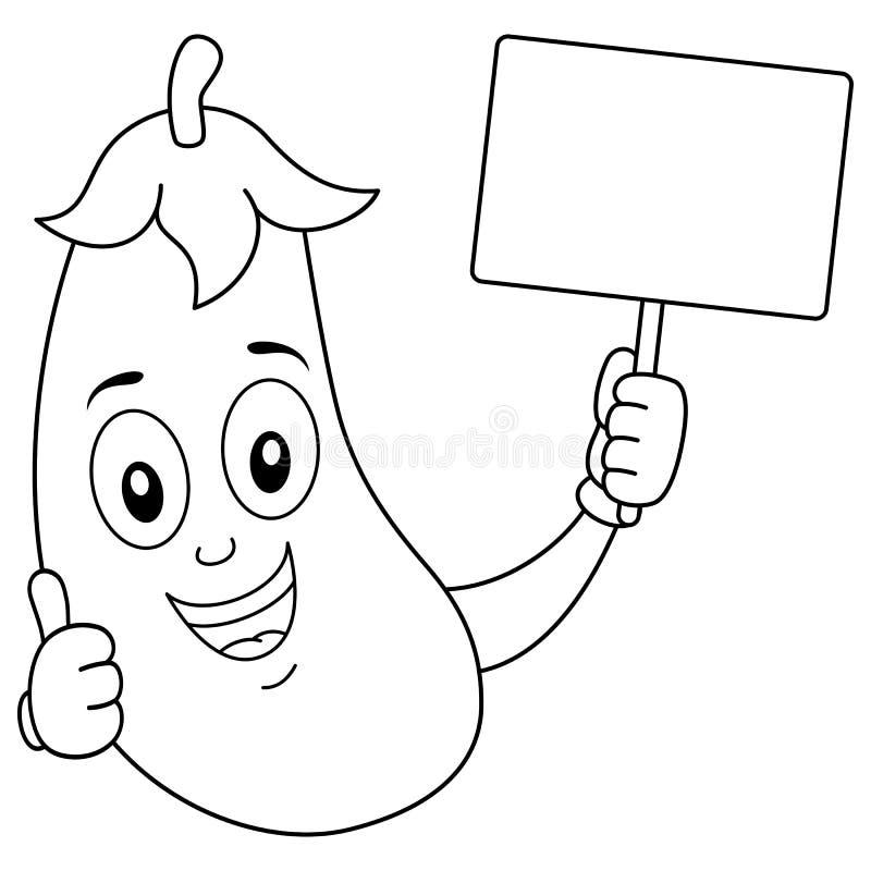Caractère d'aubergine de coloration avec la bannière illustration libre de droits