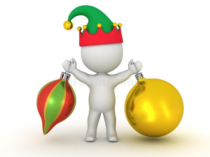 caractère 3D avec le chapeau d'Elf tenant deux globes colorés illustration stock