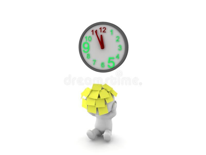 caractère 3D avec un bon nombre de notes collantes sur lui avec le reachin d'horloge illustration libre de droits