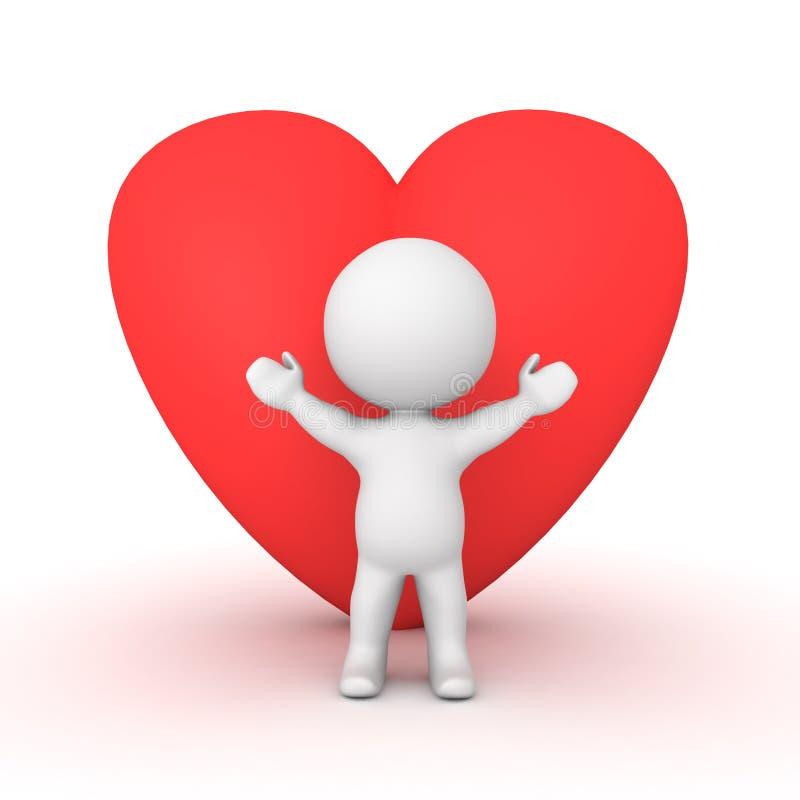 caractère 3D avec une grande forme rouge de coeur derrière lui illustration libre de droits