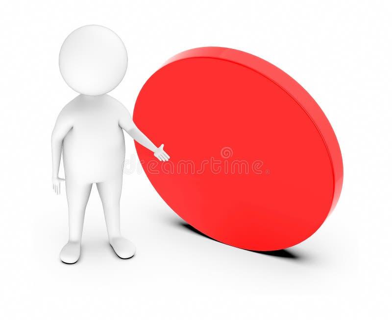 caractère 3d blanc dirigeant ses mains vers un signe vide circulaire rouge illustration libre de droits