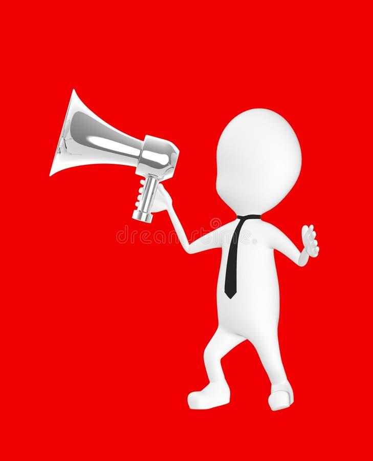 caractère 3d blanc tenant un haut-parleur bruyant illustration libre de droits