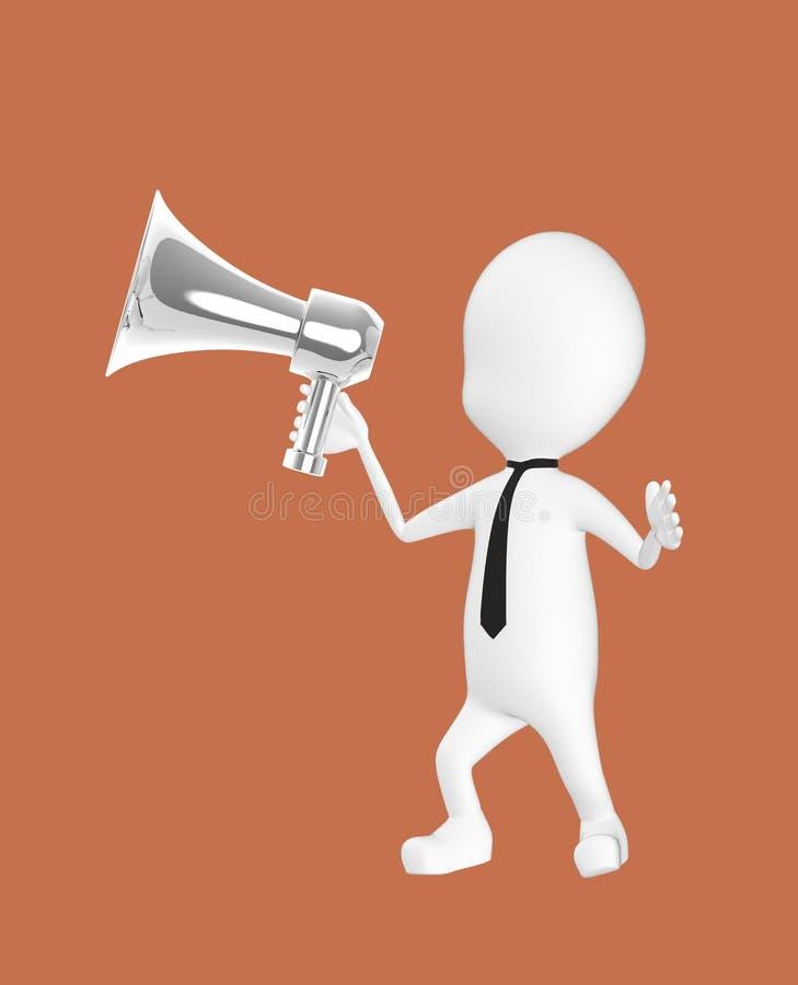 caractère 3d blanc tenant un haut-parleur bruyant illustration stock