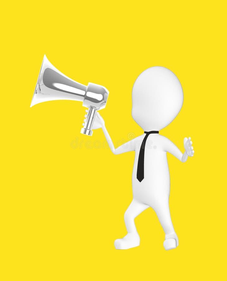 caractère 3d blanc tenant un haut-parleur bruyant illustration de vecteur