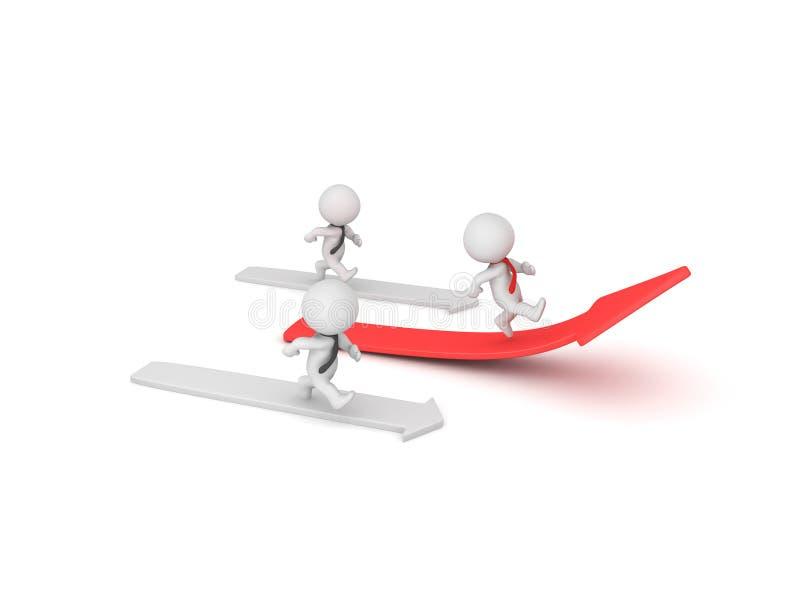 caractère 3D courant la flèche rouge et gagnant la course illustration de vecteur
