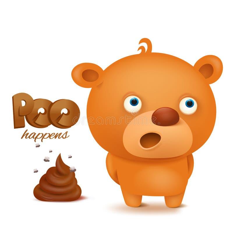 Caractère d'emoji d'ours de nounours avec le groupe de dunette illustration stock
