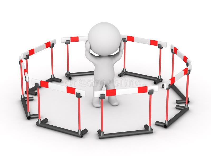 caractère 3D entouré par des barrières illustration stock