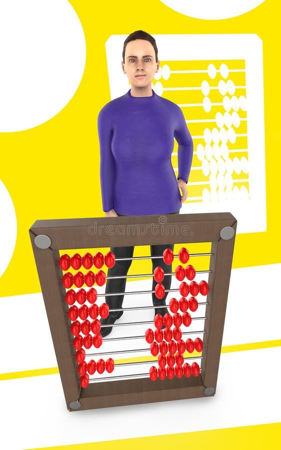 caractère 3d, femme et un abaque - fond jaune illustration de vecteur