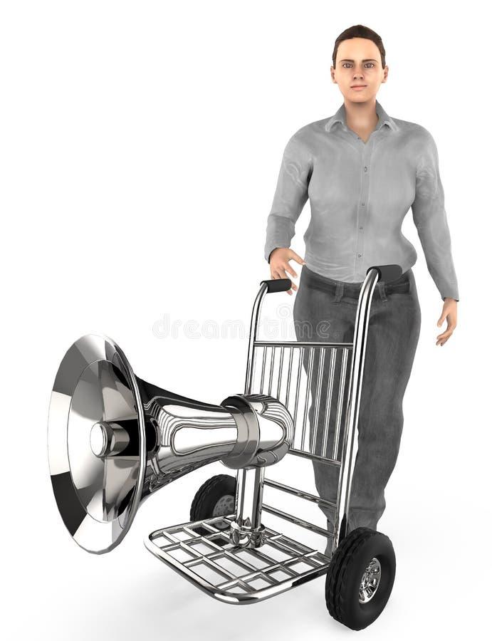 caractère 3d, femme et un chariot avec un haut-parleur dans lui illustration de vecteur