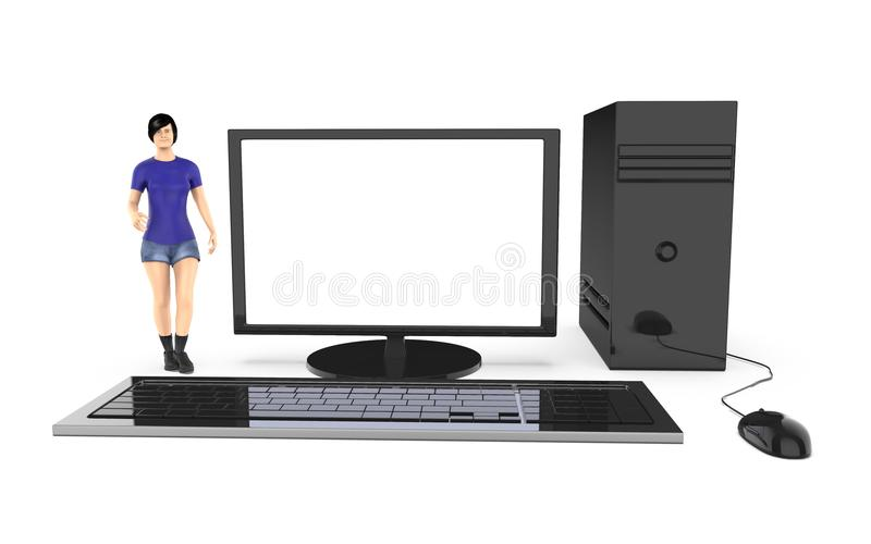 caractère 3d, femme et un ordinateur/bureau illustration de vecteur