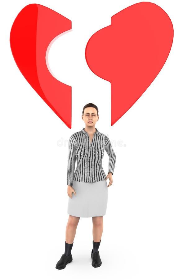 caractère 3d, femme, et une forme cassée d'amour/coeur illustration stock