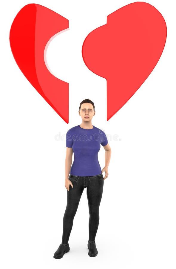 caractère 3d, femme, et une forme cassée d'amour/coeur illustration libre de droits