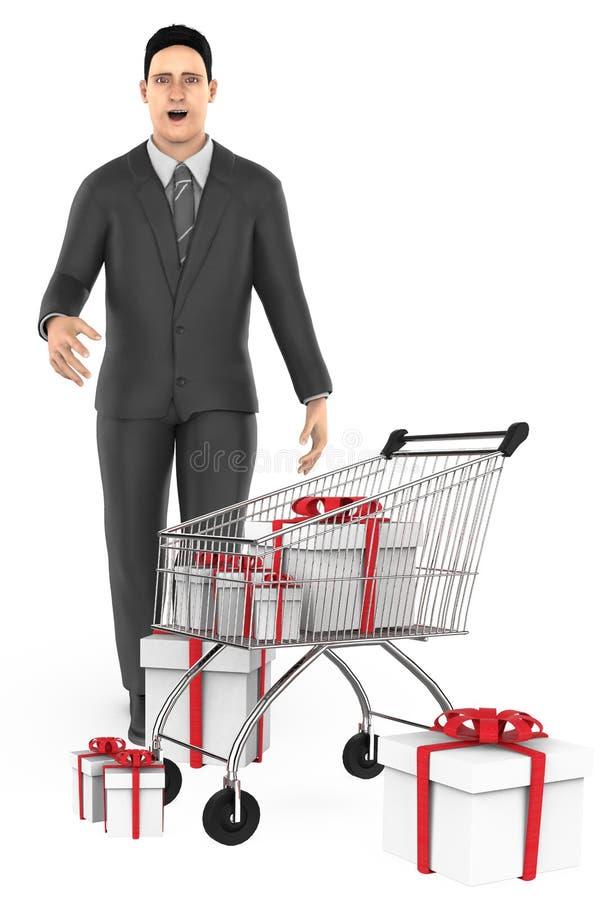 caractère 3d, homme, étonné, chariot et boîte-cadeau enveloppés illustration libre de droits