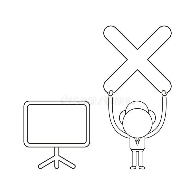 Caractère d'homme d'affaires de vecteur retardant l'identifier de x par le diagramme de présentation vide Contour noir illustration de vecteur