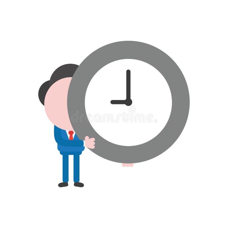 Caractère d'homme d'affaires d'illustration de vecteur tenant le temps d'horloge illustration libre de droits
