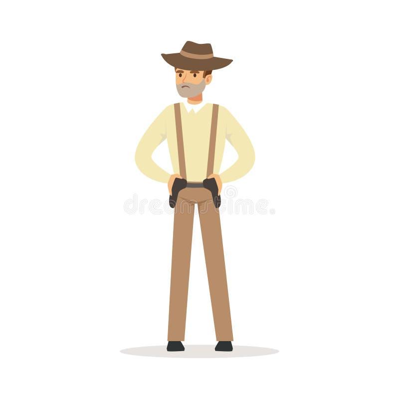 Caractère d'homme de Mafia dans le chapeau brun de chapeau feutré se tenant pour deux pistolets sous l'illustration de vecteur de illustration libre de droits