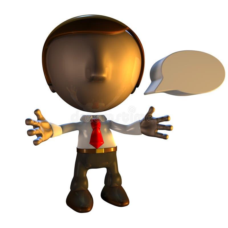 caractère d'homme des affaires 3d avec la bulle de la parole illustration libre de droits