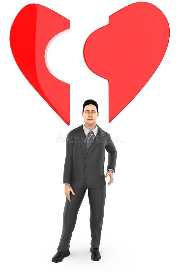 caractère 3d, homme, et une forme cassée d'amour/coeur illustration stock