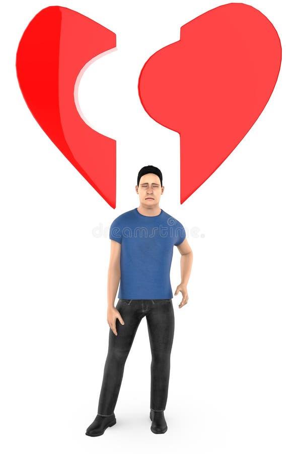 caractère 3d, homme, et une forme cassée d'amour/coeur illustration de vecteur