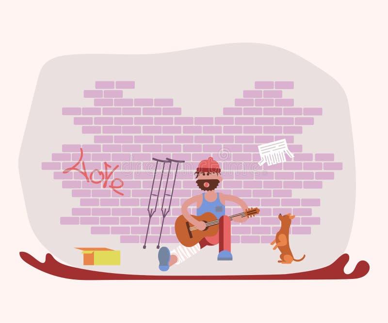 Caractère d'homme d'interprète de bruit de pas de rue illustration stock