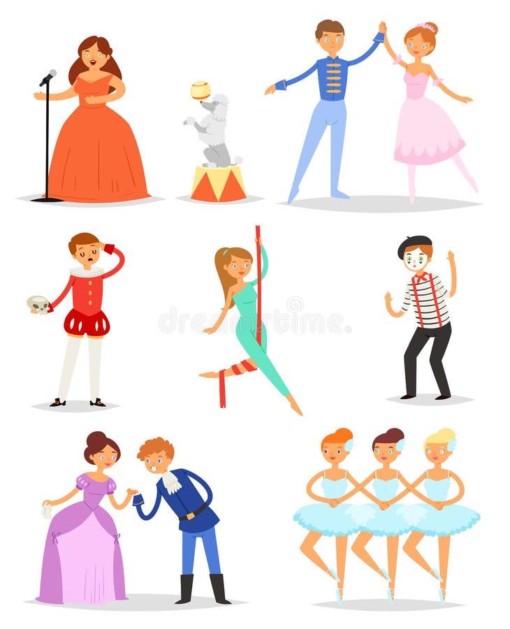 Caractère d'interprète ou d'actrice de vecteur d'acteur jouant la représentation de divertissement sur l'ensemble d'illustration  illustration stock