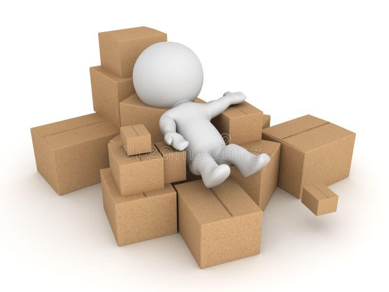 caractère 3D jeté dans la pile des boîtes en carton illustration stock