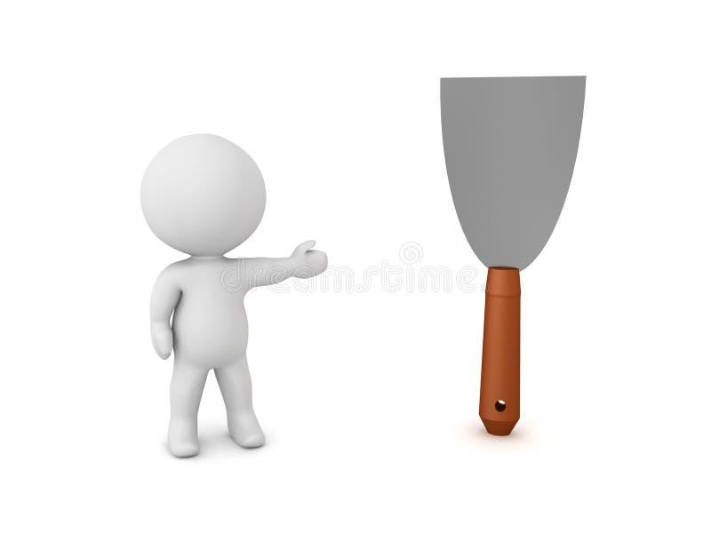 caractère 3D montrant le couteau de mastic illustration de vecteur