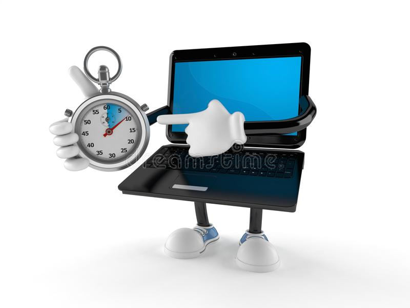Caractère d'ordinateur portable avec le chronomètre illustration libre de droits