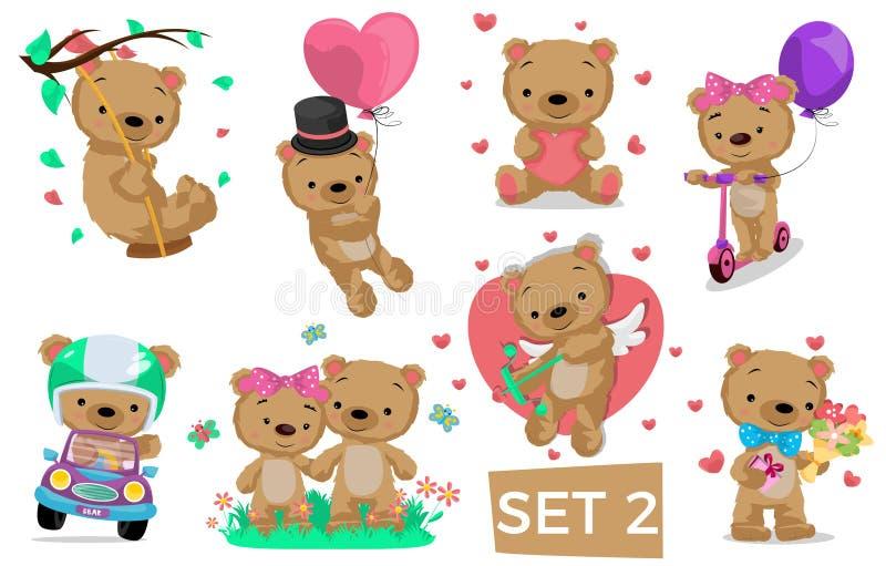 Caractère d'ours posant dans différentes situations image stock